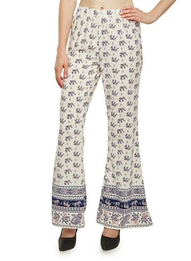 Pull-On Pants in Elephant Print,WHITE,large