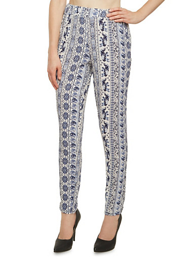 Pull-On Crepe Pants in Mixed Print,NAVY,large