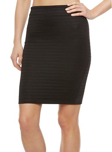 Ribbed Mini Pencil Skirt,BLACK,large