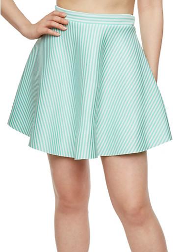 Striped Scuba Skater Skirt,MINT,large