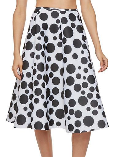 Polka Dot Pleated Scuba Skirt,WHITE,large