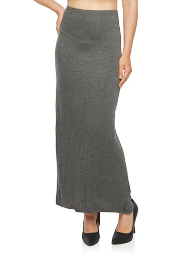 Solid Maxi Skirt,CHARCOAL,large