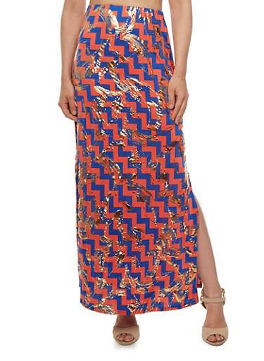 Maxi Skirt with Slit and Mixed Stripe Print,CORAL,large