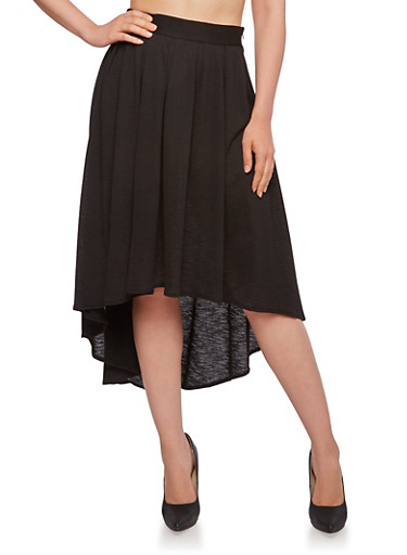 Pleated High-Low Skirt,BLACK,large