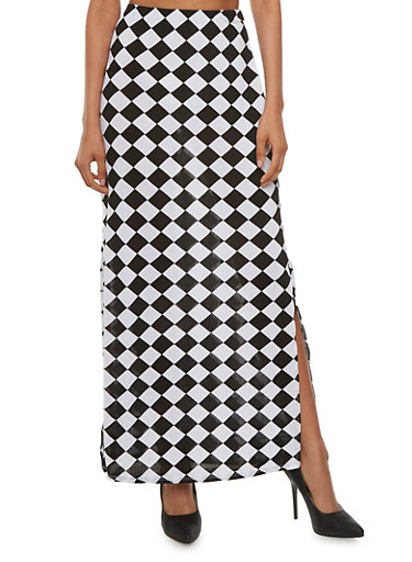 Printed Maxi Skirt with Side Slits,BLACK/WHITE,large