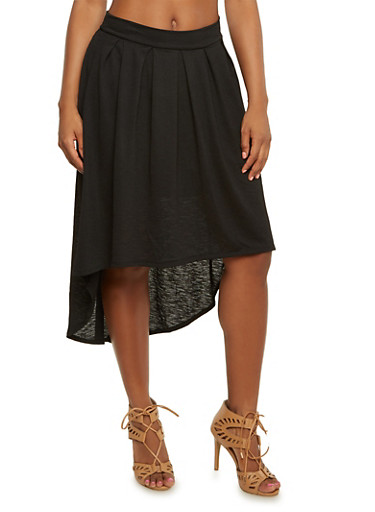 Pleated High-Low Midi Skater Skirt,BLACK,large