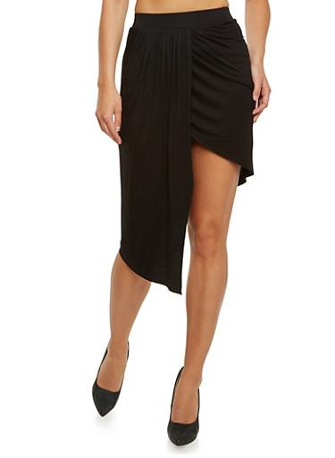 Draped Asymmetrical Skirt,BLACK,large