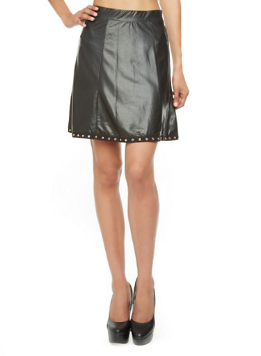 Shiny Faux Leather A-Line Skirt with Grommet Trim,BLACK,large