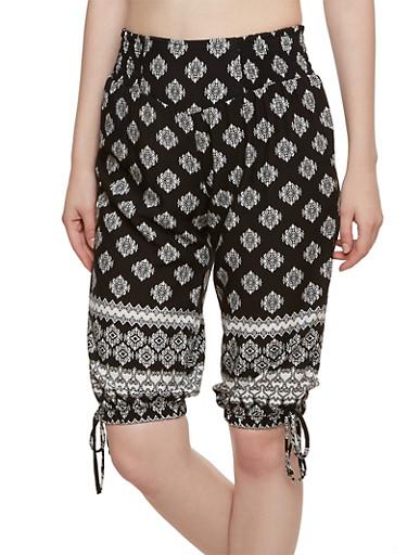 Printed Capri Pants with Elastic Waistband,BLACK,large