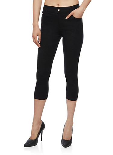 Solid Stretch Knit Capri Pants,BLACK,large