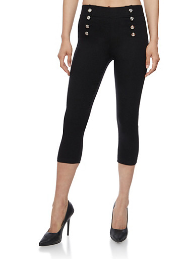 Stretch Knit Sailor Capri Pants,BLACK,large