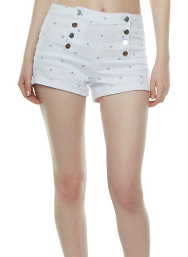 Almost Famous Button Front Sailor Shorts with Anchor Print,WHITE,large