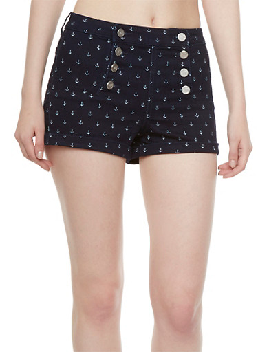 Almost Famous Anchor Print Sailor Shorts with Back Welt Pockets,RINSE,large