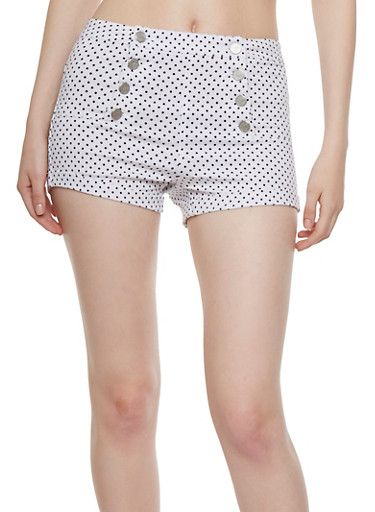 Almost Famous Cuffed Sailor Shorts with Polka Dot Print,WHITE,large