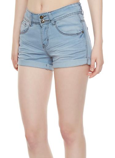 Denim Shorts with Rolled Cuffs,BLEACH WASH,large
