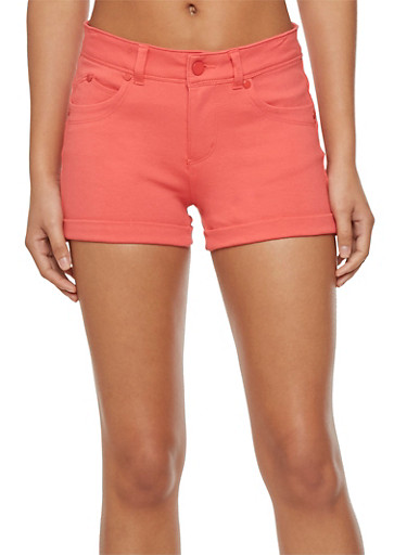 Ponte Knit Shorts with Rolled Cuffs,CORAL,large