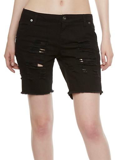 Highway Jeans Distressed Bermuda Shorts,BLACK,large
