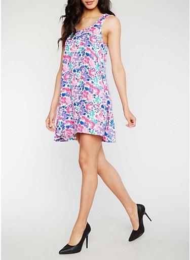 Sleeveless Floral Swing Dress,PINK/PURPLE,large