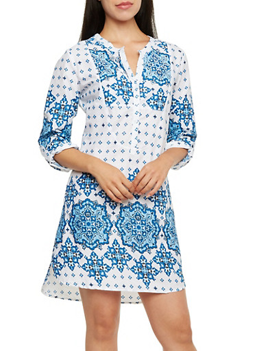 Printed Shirt Dress with Mandarin Collar,BLUE,large