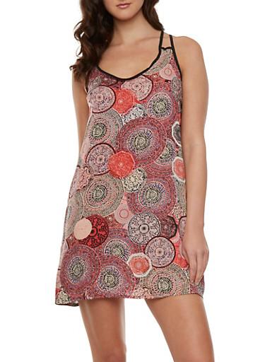 Printed Mini Dress,RUST,large
