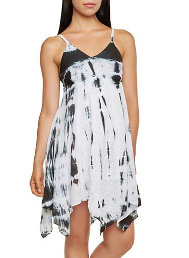 Tie-Dye Dress with Asymmetrical Hem,BLACK/WHITE,large