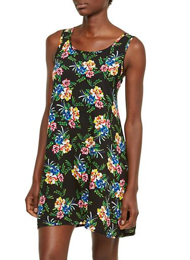 Sleeveless Floral Dress,BLACK,large