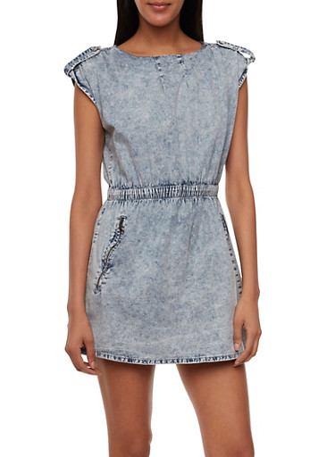 Acid-Wash Chambray Dress with Two Front Pockets,LIGHT WASH,large