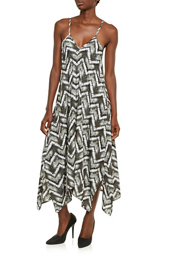 Tie Dye Print Dress with Sharkbite Hem,BLACK/WHITE,large
