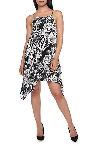 Printed Asymmetrical Dress,BLACK/WHITE,large