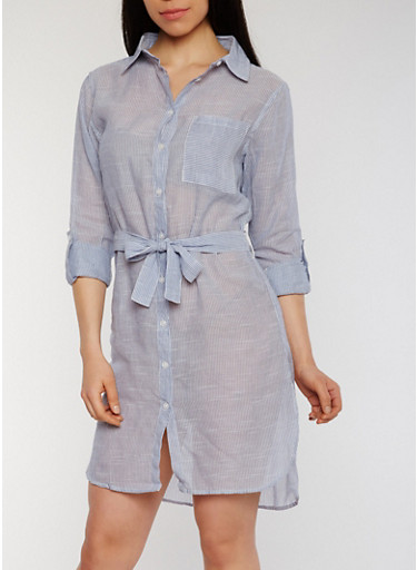 Button Front Striped Chambray Shirt Dress,BLUE/WHITE,large