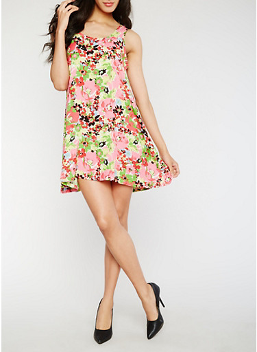 Sleeveless Floral Shift Dress,PINK/GREEN,large