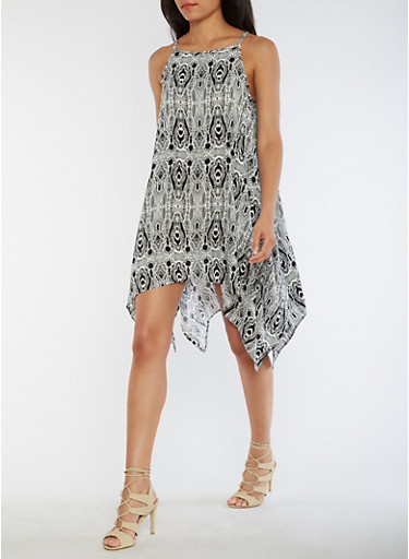 Printed Shift Dress with Asymmetrical Hem,BLACK/WHITE,large