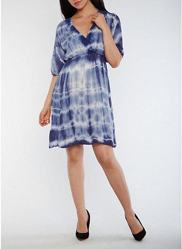 Faux Wrap Tie Dye Dress with Crochet Trim,NAVY,large