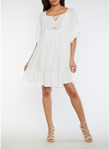 Crinkle Knit Crocheted Neckline Peasant Dress with Flounce Hem,WHITE,large