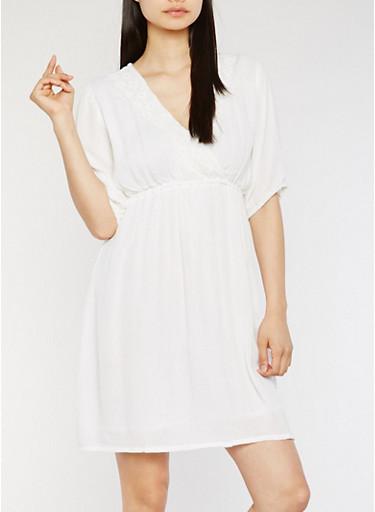 Short Sleeve V Neck Dress with Crochet Detail,WHITE,large