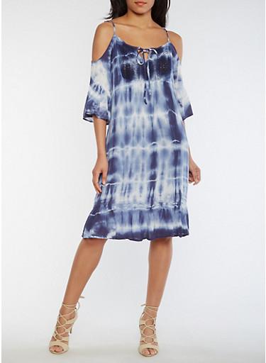 Mid Length Tie Dye Cold Shoulder Shift Dress,NAVY,large