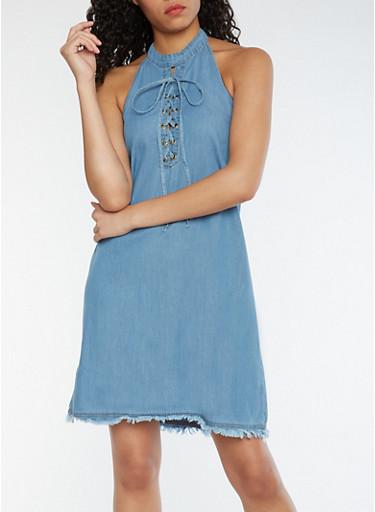 Chambray Lace Up Halter Neck Dress with Frayed Hem,MEDIUM WASH,large