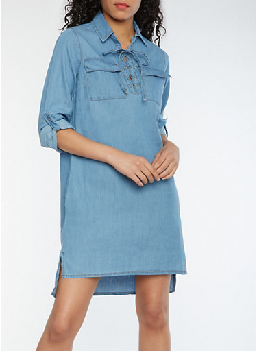 Lace Up Chambray Shift Dress with Tabbed Sleeves,MEDIUM WASH,large