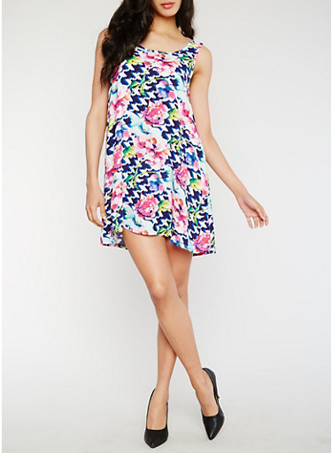 Floral Print Sleeveless Dress,PINK/NAVY,large