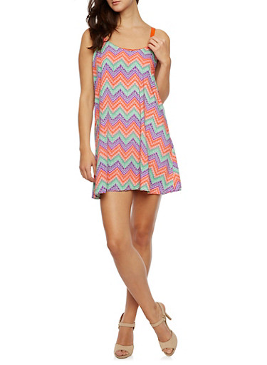 Printed Swing Dress with Ribbon Straps,MINT,large