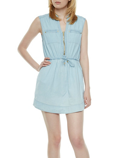 Chambray Dress with Front Zip V-neck,LIGHT WASH,large