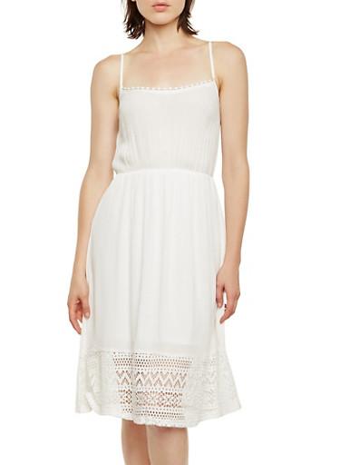 Crinkle Gauze Midi Dress with Crochet Trim,WHITE,large