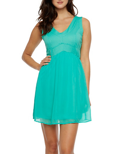 Textural Dress with Ruched Chiffon Skirt Overlay,MINT,large