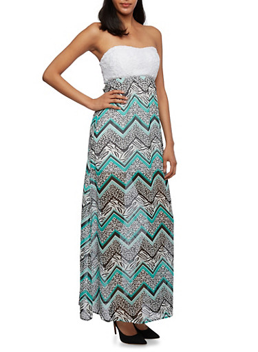 Strapless Maxi Dress with Cutout Lace Bodice,MINT,large