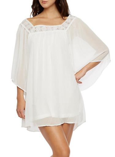 Gauze Babydoll Dress with Crochet Neckline,WHITE,large
