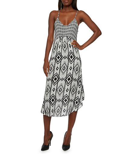 Spaghetti Strap Racerback Midi Dress with Two-Tone Aztec Print,BLACK,large