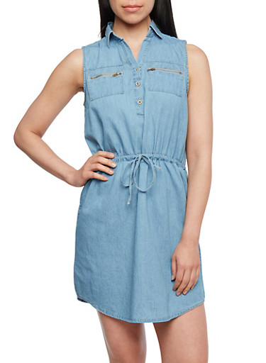 Chambray Shirt Dress with Removable Self-Tie Waist Belt,MEDIUM WASH,large