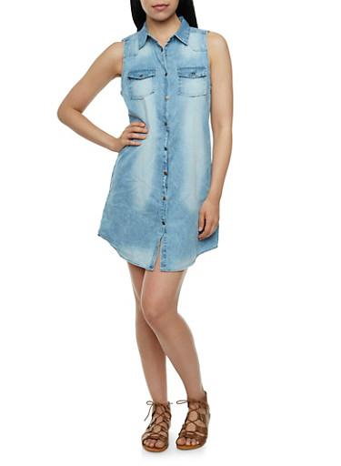 Denim Button Front Shirt Dress,MEDIUM WASH,large