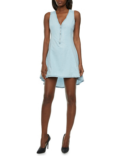 Denim High-Low Dress with Zippered V-Neck,LIGHT WASH,large