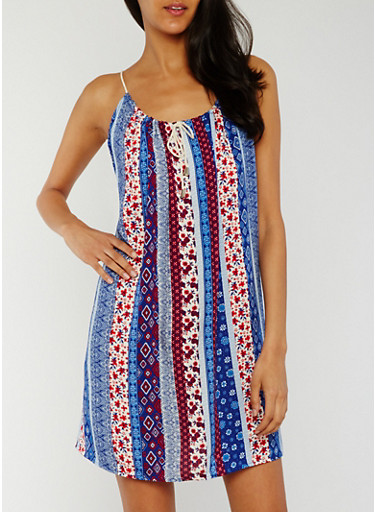 Sleeveless Printed Rope Tie Sundress,BLUE PTN,large